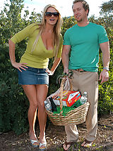 Kelly Madison and Ryan celebrate St. Patricks Day by by fucking Janet Mason their redheaded leprechaun outside.
