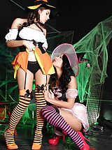 Sexy Witches Deep throating On Soles Through Striped Stockings