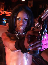 Scorching Model Black Barbie  uncovers her uncovered titties, pulls down her panties and opens her limbs and stimulates her snug cunt