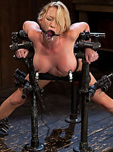 Madison Scott bound in a standing doggy position, machine fucked hard in her gorgeous pussy.