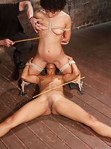 2 sluts in tight-fitting restraints, suffering through intense torment, licking snatch, getting face banged and dual sybian trips.