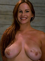 Bella Rossi's gourgeous slave tits fucked and covered in come