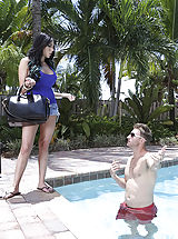 Jaclyn Taylor shows as much as hang off along with her pal, but her buddy is hectic at the office so Jaclyn chooses to get into the share along with her friends spouse. Jaclyn didnt deliver a washing match though therefore she jumps in nude and requires