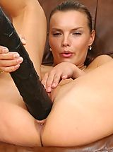 Thick black dildo action