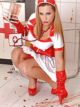 Bloodthirsty Nurse Crams Both Holes With Bloody Test Tubes