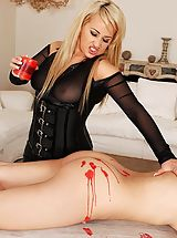 Domme Roxette Rocks Disciplines With Red Candle Wax Therapy