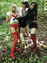 Carole Hunt and Jen Bailey and Samantha Bentley 2 Slutty Students in Lingerie Stockings as well as High Heel Pumps