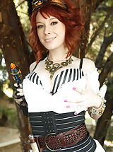 Zoey Nixon and her creamy skin and red hair look great while shes getting screwed by Ryan for this steam punk themed scene.