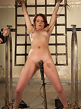 Petite red-head slave girl suffers and and sucks cock like a good submissive slut